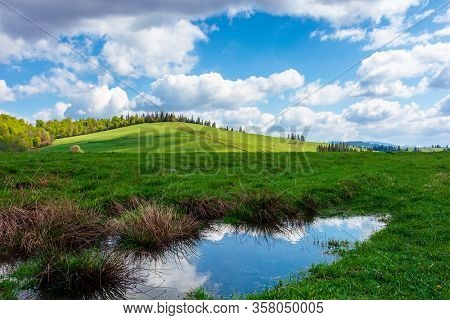 Wonderful Sunny Weather With Clouds Above The Hill. Reflecting Puddle Among Green Grass On The Meado