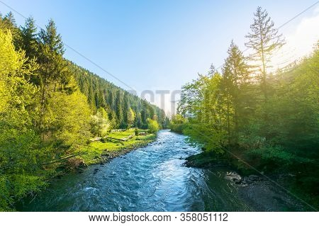 Mountain River On A Misty Sunrise. Fantastic Nature Scenery With Fog Rolling Above The Trees Fresh G