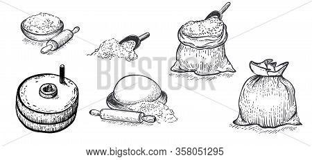 Set Of Flour, Hand Mill, Wheat, Grain, Bag Of Flour, Ingredients. Hand Drawn Vector Illustration. En