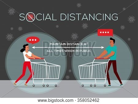 An Illustration Of People In Queue, Social Distancing Concept