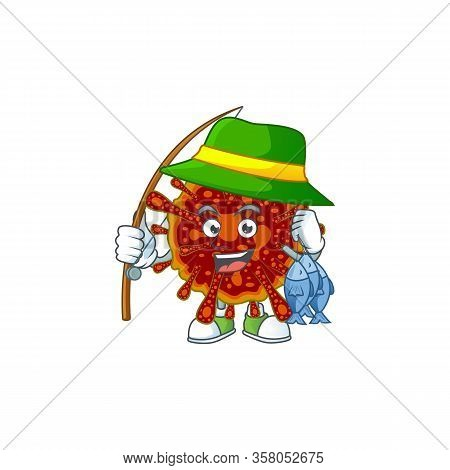 Cartoon Character Of Funny Fishing Deadly Coronvirus