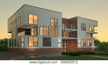 Empty apartment building city villa in the evening with lighting against an evening sky (3D Rendering)