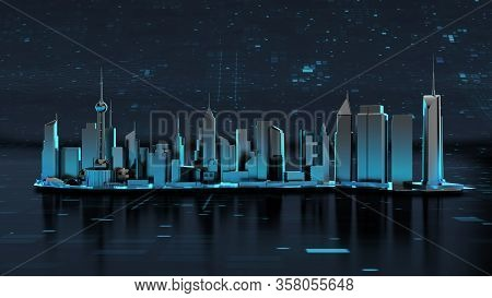 Futuristic Innovation City Landmark Isolated With Clipping Path, Clipping Mask.  3d Render City Land
