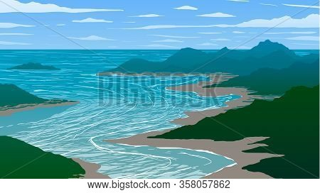 Vector Illustration. Aerial View Of Bay And Islands In Ocean