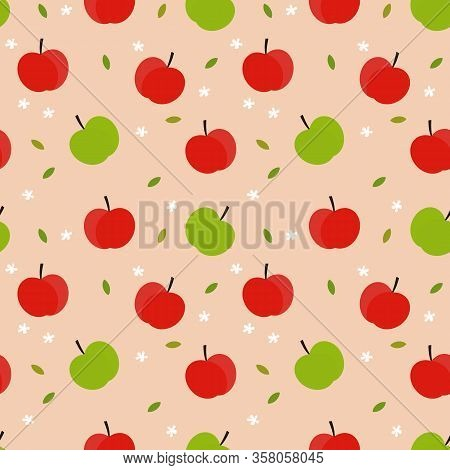 Sweet Apple Seamless Pattern. Fresh Fruit Concept.