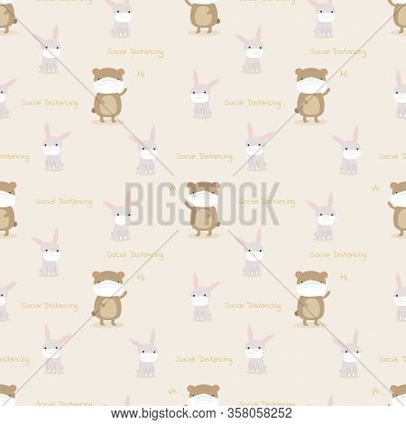 Cute Animal In Social Distancing For Prevention Corona Virus Or Covid-19. Cute Seamless Pattern