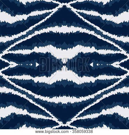 Aquamarine Chevron Retro Vector Seamless Pattern. African Bohemian Tile Pattern. Drawn Traditional D