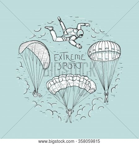 Doodle Sketches Vector Round Composition With Hand Drawn Skydivers Flying With A Paraglider And Para