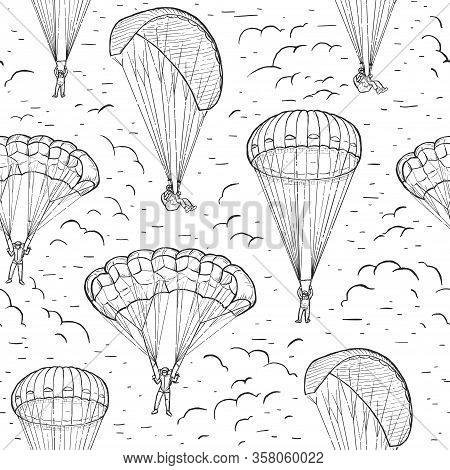 Extreme Sports Sketch Seamless Vector Pattern. Hand Drawn Skydivers Flying With A Paraglider And Par