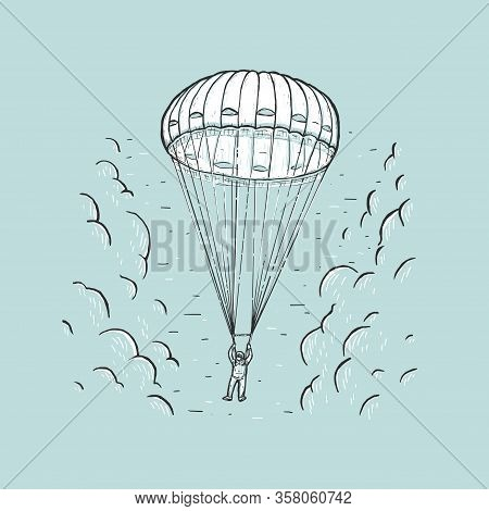Sketch Vector Illustration With Hand Drawn Skydiver. Parachuting Sport Concept. Skydiver Descending