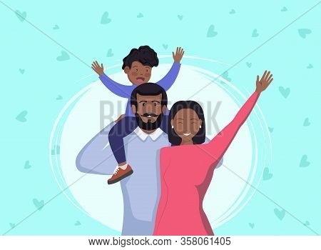 Afro American Black Family In Casual Clothing Vector Cartoon Flat Illustration. Happy Father And Mot