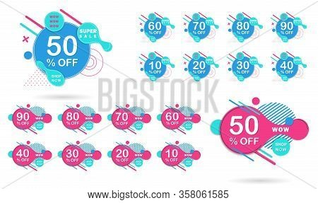 Dynamic modern fluid for sale banners set. Sale banner template design, Super sale special offer. Sale tags set vector badges template, sale banners 10 off, 20 , 90, 80, 30, 40, 50, 60, 70 percent sale label symbols, discount promotion flat icon with long
