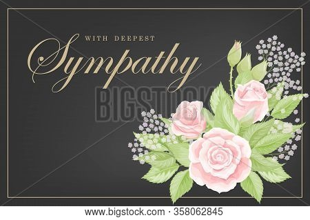 Pink Rose Bouquet On Black Background Vector Sympathy Template