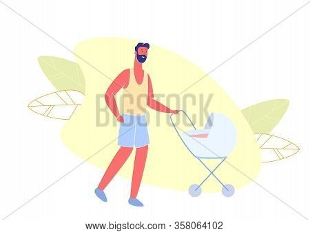 Man In Shirt And Shorts Walking With Baby In Stroller. Man Walk In Park. Vector Illustration. Care B