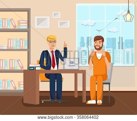 Advocate Works In Office Flat Vector Illustration. Cartoon Legal Consultant Advising Client On Case.