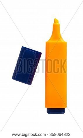 Orange Highlighter Isolated On A White Background