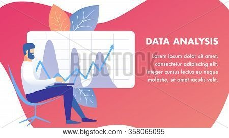 Data Analysis, Examination Banner Vector Template. Analyst Sitting In Chair With Laptop Cartoon Char
