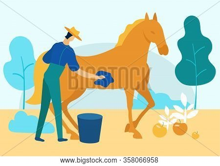 Man In Overalls Washes Horse In Garden. Vector Illustration. People On Farm. Farm Business. Family B