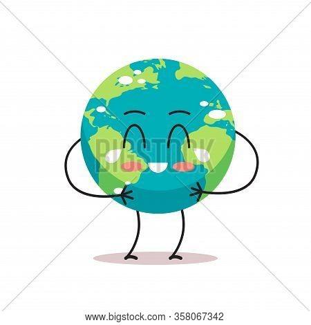 Sad Earth Character Crying Unhappy Cartoon Mascot Globe Personage Say No Plastic Climate Change Save
