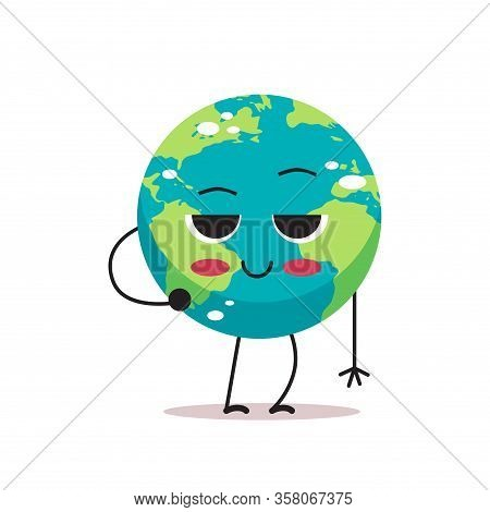Shy Cute Earth Character Cartoon Mascot Globe Personage Showing Facial Emotion Save Planet Concept I