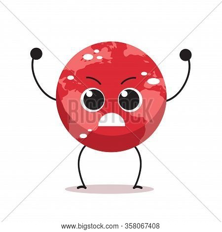 Angry Red Earth Character Cartoon Mascot Globe Personage Say No Plastic Climate Change Global Warmin