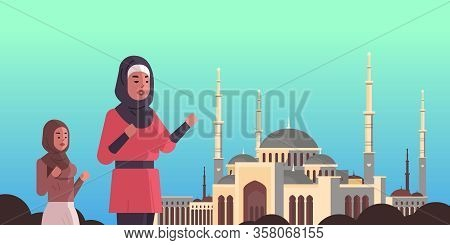 Arab Women Coming To Nabawi Mosque Building Ramadan Kareem Holy Month Religion Concept Arabic Prayer
