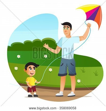 Cartoon Father And Son Launch Colorful Flying Kyte Vector Illustration. Man Boy Play On Green Grass