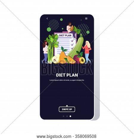 People Holding Different Organic Fruits Herbs Mix Race Women Planning Weight Loss Program Diet Plan