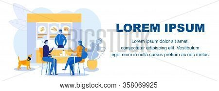 Eatery Promotional Web Banner Vector Template. Diner Customers And Worker Cartoon Characters. Fast F