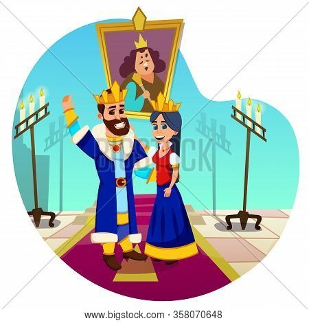 Bearded King With Big Friendly Smile, Wearing Golden Crown And His Monarch Spouse, Royal Consort, Be