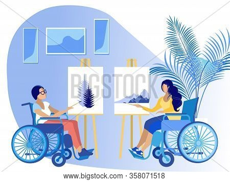 Disabled Young Women Sitting In Wheelchair Painting. Handicapped Girl Drawing With Paints On Canvas.