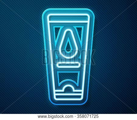 Glowing Neon Line Personal Lubricant Icon Isolated On Blue Background. Lubricating Gel. Cream For Er