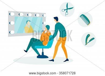 Barber Shop, Beauty Salon Flat Vector Illustration. Hairdresser And Customer In Chair Cartoon Charac