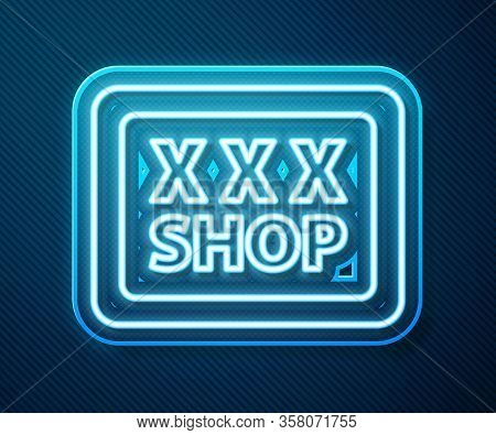 Glowing Neon Line Sex Shop Icon Isolated On Blue Background. Sex Shop, Online Sex Store, Adult Eroti