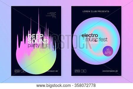 Music Flyer Set. Trendy Disco Club Magazine Design. Fluid Holographic Gradient Shape And Line. Elect