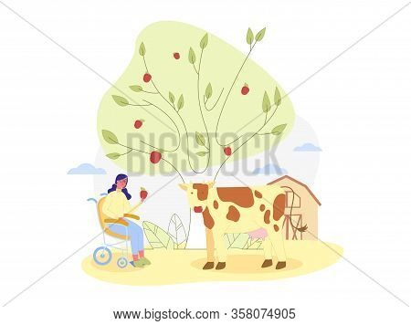 Country Life In Open. Young Wheel Chaired Woman, Wearing Glasses, Offering Red Ripe Apple To Spotted