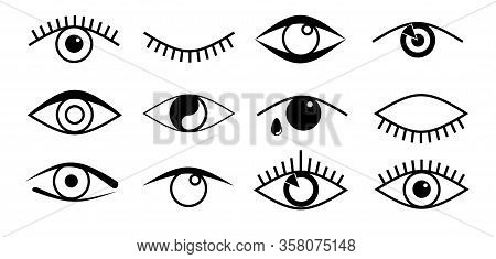 Eye Icons. Open And Closed Eyes Outline Images, Sleeping Eye Shapes With Eyelash, Supervision And Se