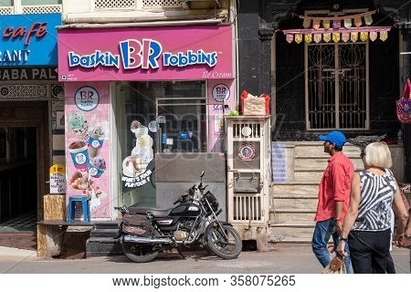 Udaipur, India - March 15, 2020: Exterior Of A Baskin Robbins Ice Cream Shop And Parlour, Open For B