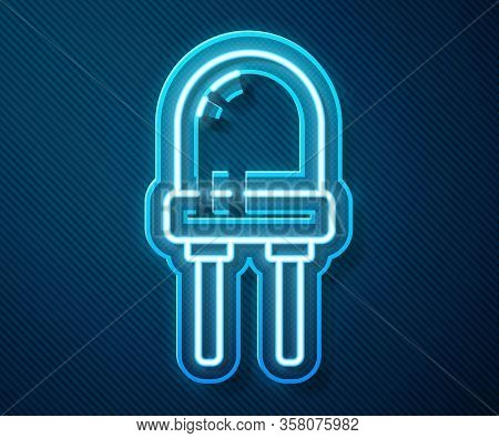 Glowing Neon Line Light Emitting Diode Icon Isolated On Blue Background. Semiconductor Diode Electri