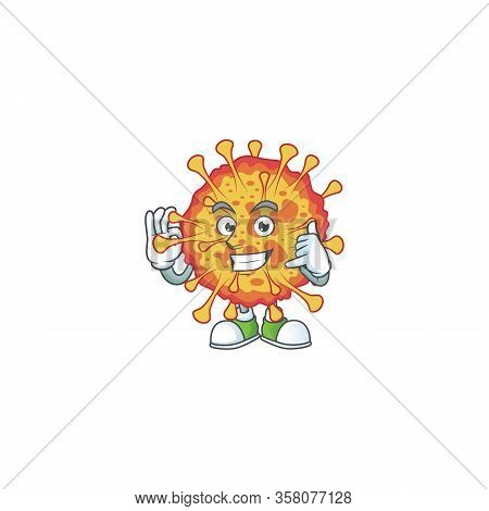 Call Me Funny Gesture Epidemic Covid19 Mascot Cartoon Design