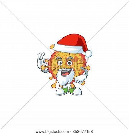 Epidemic Covid19 Cartoon Character Of Santa Showing Ok Finger