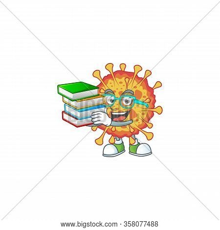 A Hard-working Student In Epidemic Covid19 Cartoon Design With Book