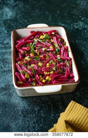 Turkish Style Cold Purple Pasta Salad With Turnip Juice Casarecce With Pickle And Corn, Dill And Oli