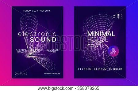 Music Fest. Dynamic Gradient Shape And Line. Geometric Show Magazine Set. Music Fest Neon Flyer. Ele