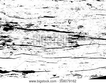 Wooden Board Texture Vector On Transparent Background. Old Tree Trunk Ornament. Cracked Wooden Bark