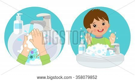 Dirty Hands, Clear Hands, Before And After. Hand Hygiene Vector Icons In The Circle. Wash You Hands
