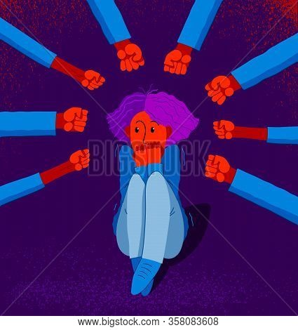 Bullying Vector Concept, Clenched Fists Threats Scared Young Woman Victim, Psychological Abuse, Viol
