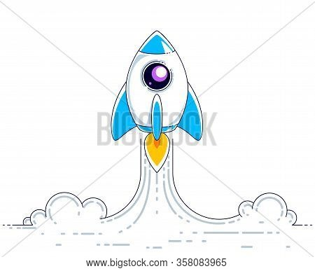 Rocket Start To Space To Discover Undiscovered Galaxies. Explore Universe, Interesting Space Science