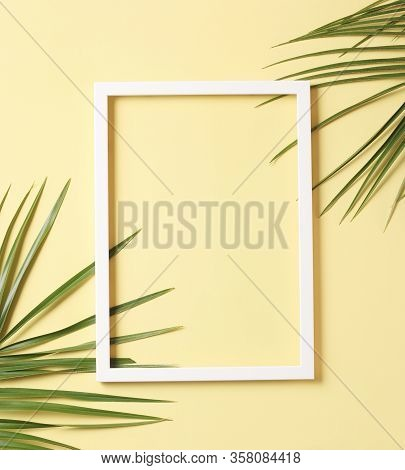 Leaves Composition - Green Palm Leaves And White Frame