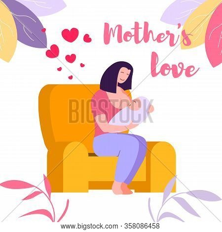 Mother Love And Bonding With Child Through Breath Feeding. Young Woman Sitting On Armchair During Br